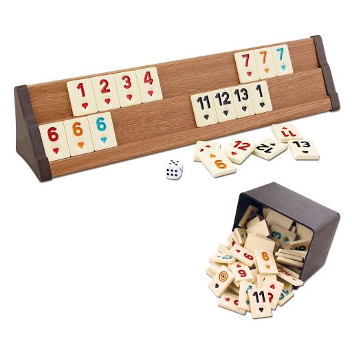 Holz Rummy Set mit 4 Halterungen von ESER, Türkisches Rommé (Okey Oyunu), Gesellschafts- und Familienspiel, Frontplatten und Spielsteinen für maximal 4 Personen, Aufstellbretter für Rummy