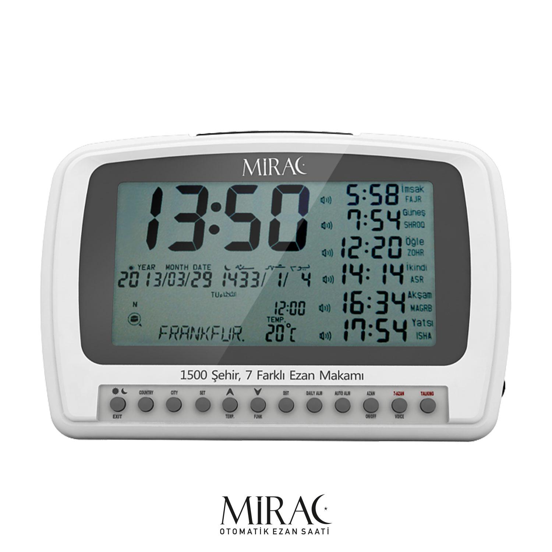 Mirac Automatische Gebetsruf Uhr mit Azan Gebet, Digitale Ezan Uhr mit 7 Akzenten und türkischem Azan mit sieben verschiedenen Modi, Azan Uhr für 1500 Städte, Azan zu 5 Gebetszeiten der Muslime