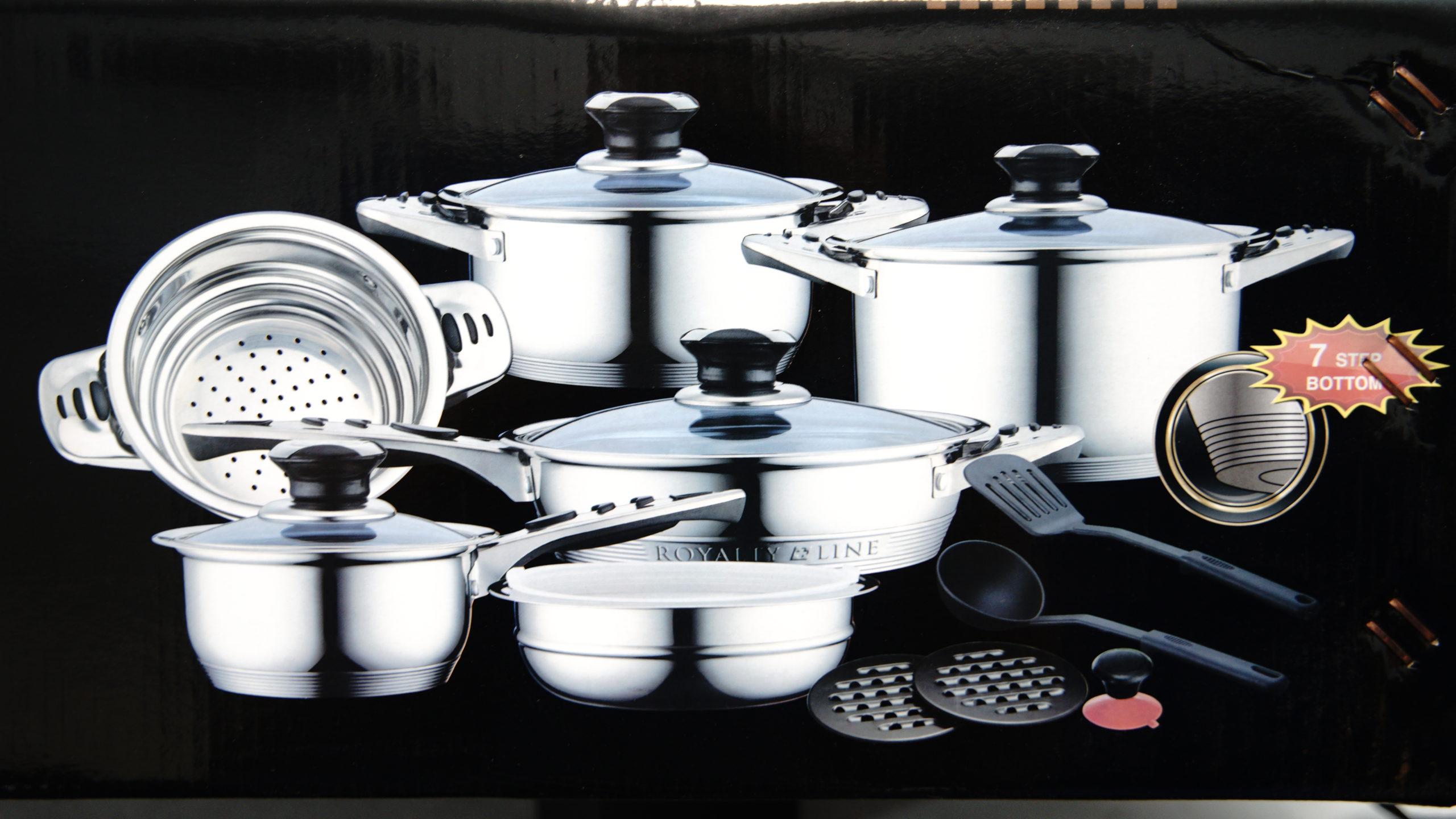 16 tlg Kochgeschirrset aus Edelstahl, Töpfe 7-Schicht-Boden und Glasdeckel
